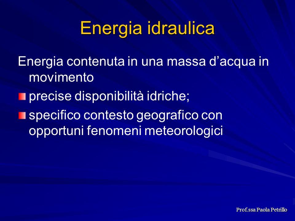 Energia idraulica Energia contenuta in una massa dacqua in movimento precise disponibilità idriche; specifico contesto geografico con opportuni fenome