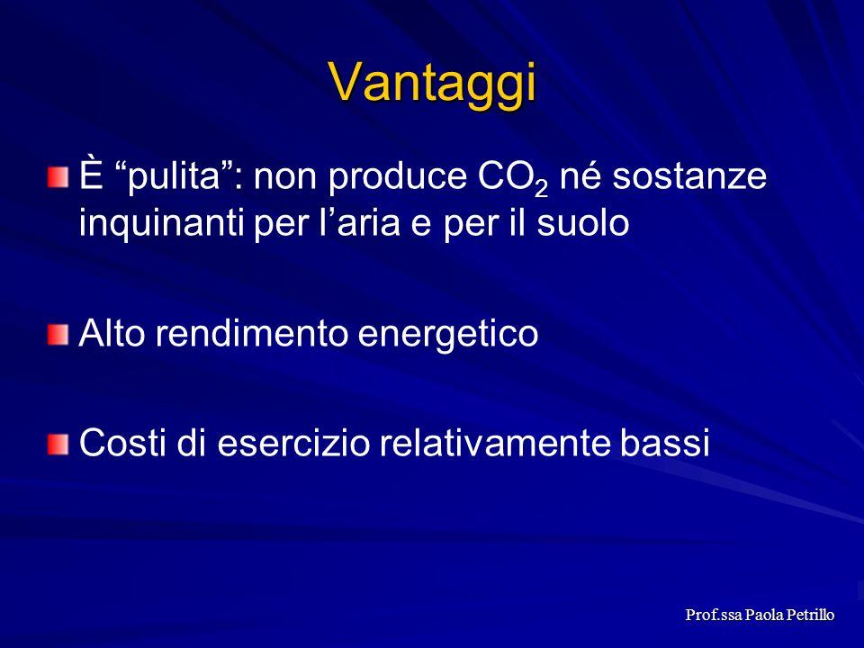 Vantaggi È pulita: non produce CO 2 né sostanze inquinanti per laria e per il suolo Alto rendimento energetico Costi di esercizio relativamente bassi