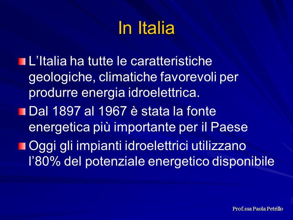 In Italia LItalia ha tutte le caratteristiche geologiche, climatiche favorevoli per produrre energia idroelettrica. Dal 1897 al 1967 è stata la fonte