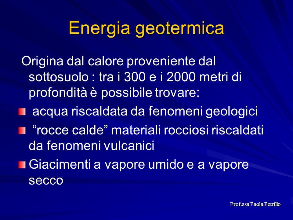 Origina dal calore proveniente dal sottosuolo : tra i 300 e i 2000 metri di profondità è possibile trovare: acqua riscaldata da fenomeni geologici roc