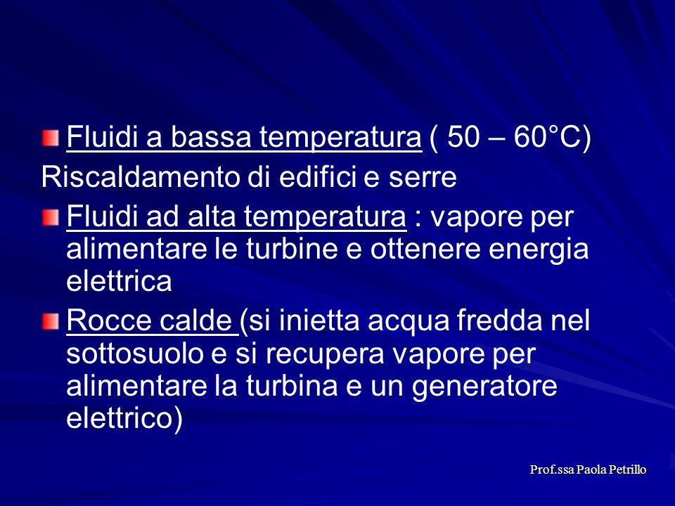 Fluidi a bassa temperatura ( 50 – 60°C) Riscaldamento di edifici e serre Fluidi ad alta temperatura : vapore per alimentare le turbine e ottenere ener