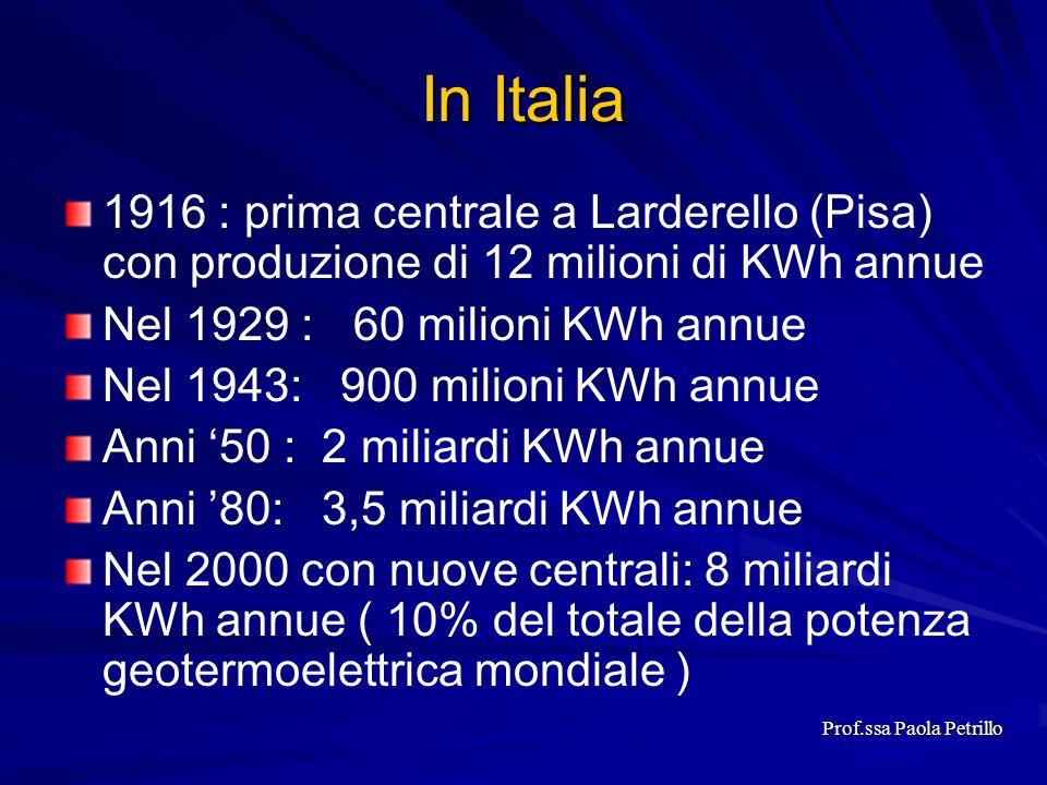 In Italia 1916 : prima centrale a Larderello (Pisa) con produzione di 12 milioni di KWh annue Nel 1929 : 60 milioni KWh annue Nel 1943: 900 milioni KW