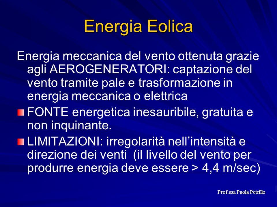 Energia Eolica Energia meccanica del vento ottenuta grazie agli AEROGENERATORI: captazione del vento tramite pale e trasformazione in energia meccanic