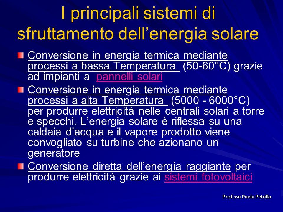 Conversione in energia termica mediante processi a bassa Temperatura (50-60°C) grazie ad impianti a pannelli solaripannelli solari Conversione in ener