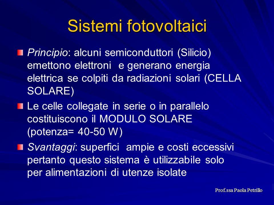 Sistemi fotovoltaici Principio: alcuni semiconduttori (Silicio) emettono elettroni e generano energia elettrica se colpiti da radiazioni solari (CELLA