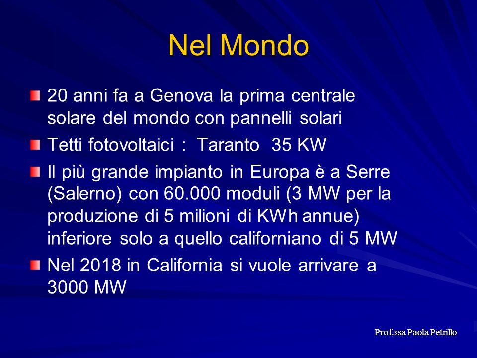 Nel Mondo 20 anni fa a Genova la prima centrale solare del mondo con pannelli solari Tetti fotovoltaici : Taranto 35 KW Il più grande impianto in Euro