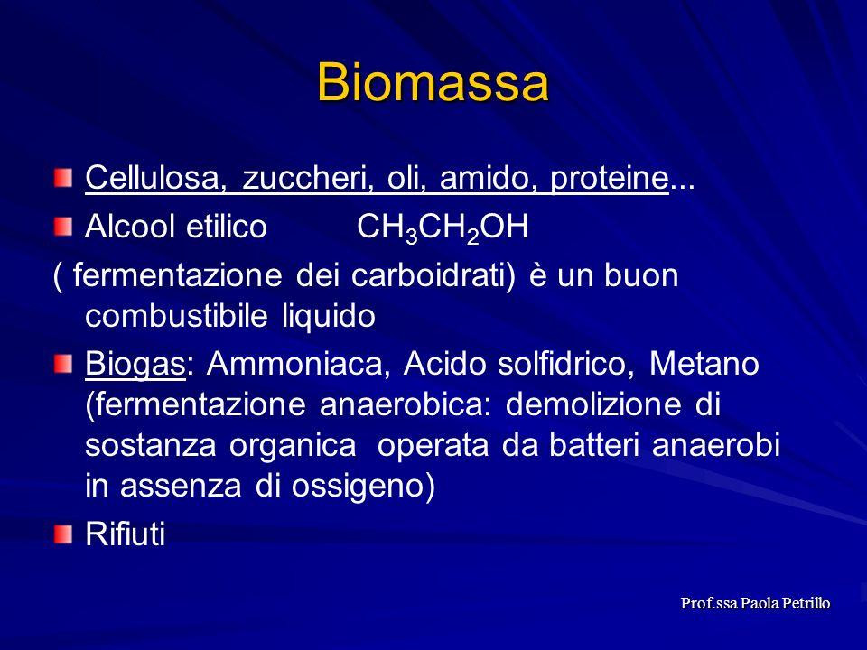 Biomassa Cellulosa, zuccheri, oli, amido, proteine... Alcool etilico CH 3 CH 2 OH ( fermentazione dei carboidrati) è un buon combustibile liquido Biog