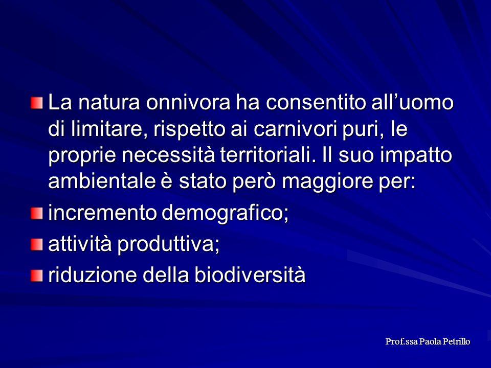 La natura onnivora ha consentito alluomo di limitare, rispetto ai carnivori puri, le proprie necessità territoriali. Il suo impatto ambientale è stato