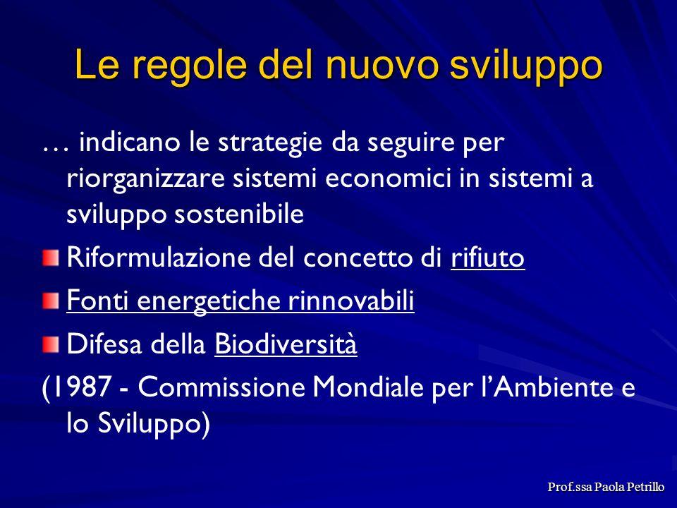 Le regole del nuovo sviluppo … indicano le strategie da seguire per riorganizzare sistemi economici in sistemi a sviluppo sostenibile Riformulazione d
