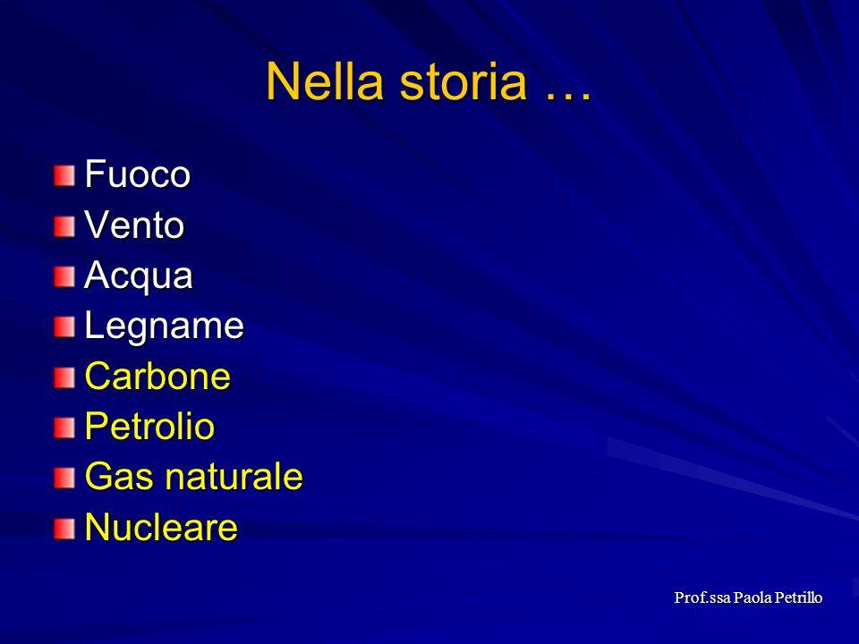 Allinizio della seconda guerra mondiale Consumo energetico era di 1.2 miliardi di tep (tonnellata equivalente di petrolio = 10.000.000 Kcal /11.628 KWh) Prof.ssa Paola Petrillo