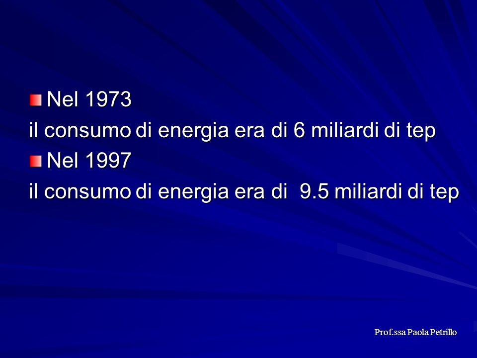 Nel 1973 il consumo di energia era di 6 miliardi di tep Nel 1997 il consumo di energia era di 9.5 miliardi di tep Prof.ssa Paola Petrillo