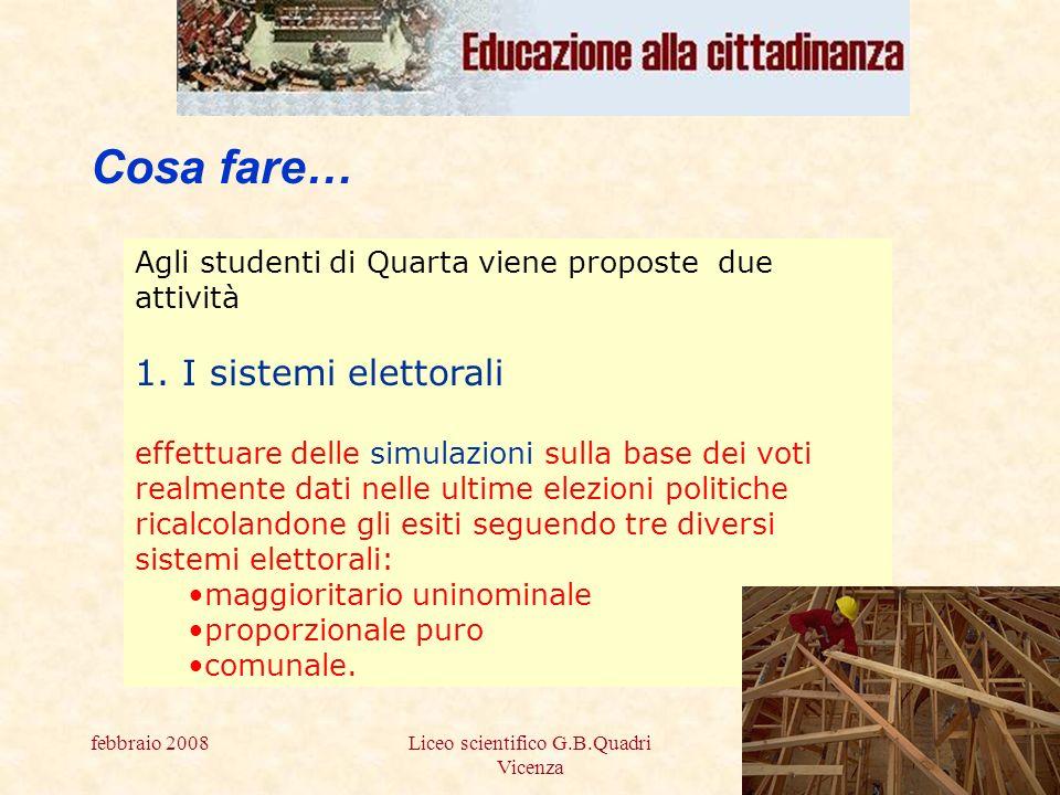 febbraio 2008Liceo scientifico G.B.Quadri Vicenza 2 Cosa fare… Agli studenti di Quarta viene proposte due attività 1.