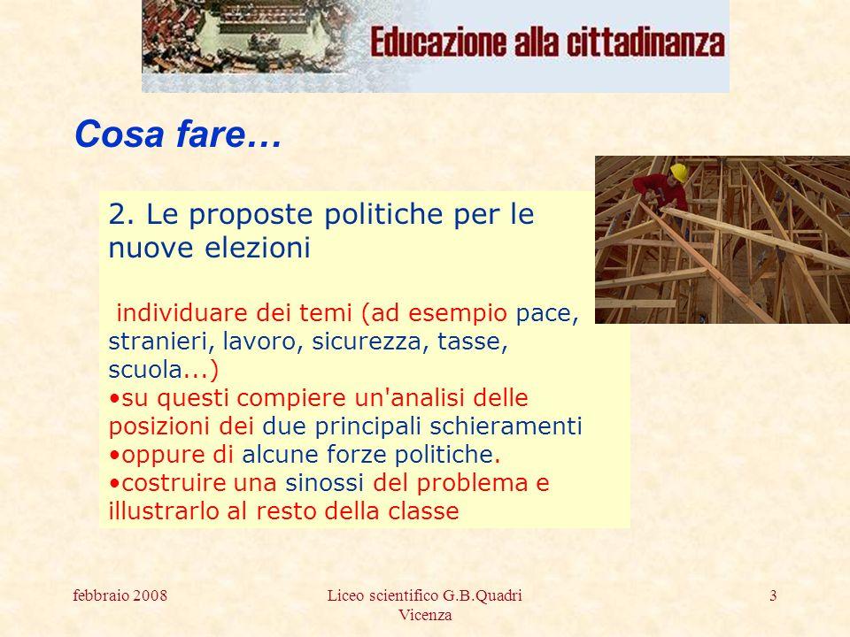 febbraio 2008Liceo scientifico G.B.Quadri Vicenza 3 Cosa fare… 2.
