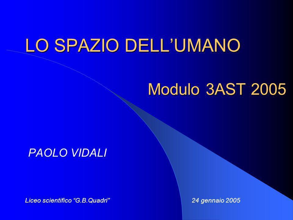 LO SPAZIO DELLUMANO Modulo 3AST 2005 PAOLO VIDALI Liceo scientifico G.B.Quadri 24 gennaio 2005