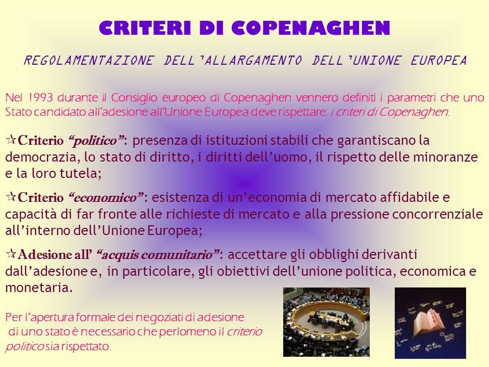 CRITERI DI COPENAGHEN REGOLAMENTAZIONE DELLALLARGAMENTO DELLUNIONE EUROPEA Nel 1993 durante il Consiglio europeo di Copenaghen vennero definiti i para