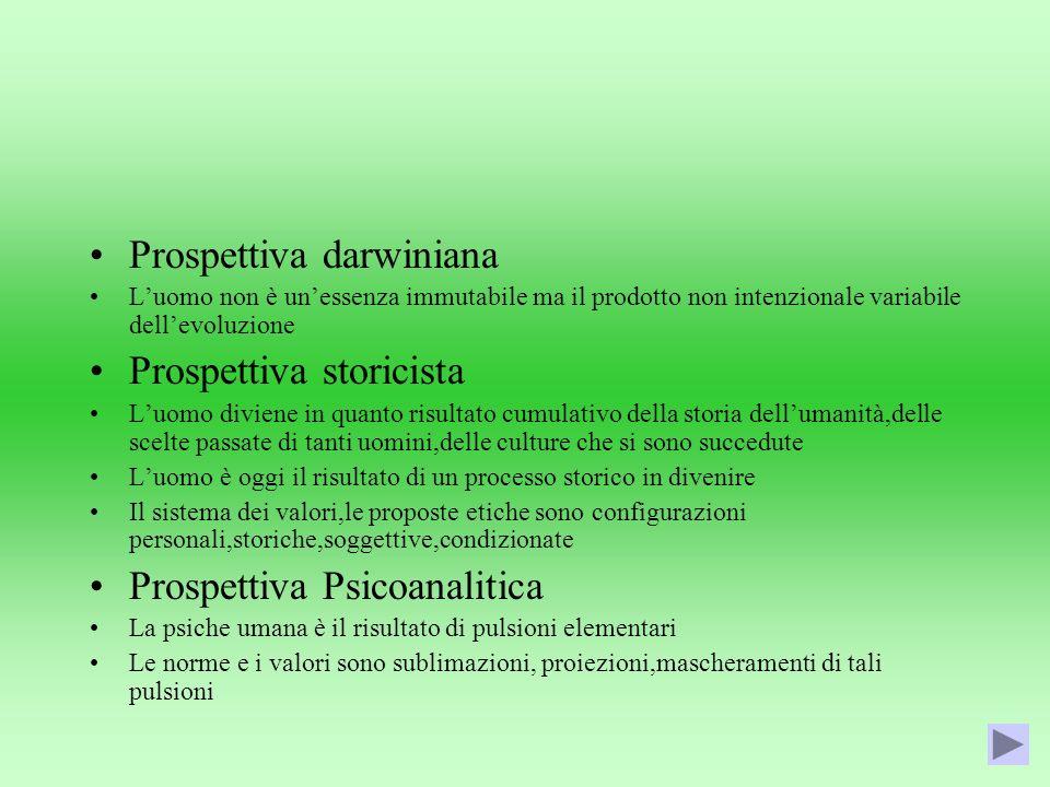 Prospettiva darwiniana Luomo non è unessenza immutabile ma il prodotto non intenzionale variabile dellevoluzione Prospettiva storicista Luomo diviene