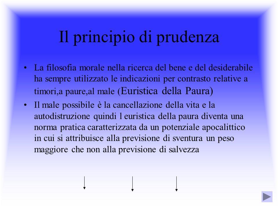 Il principio di prudenza La filosofia morale nella ricerca del bene e del desiderabile ha sempre utilizzato le indicazioni per contrasto relative a ti