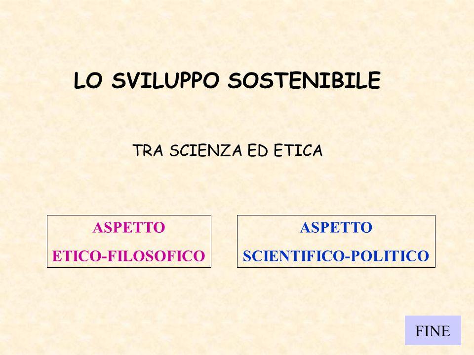 LO SVILUPPO SOSTENIBILE TRA SCIENZA ED ETICA ASPETTO ETICO-FILOSOFICO ASPETTO SCIENTIFICO-POLITICO FINE