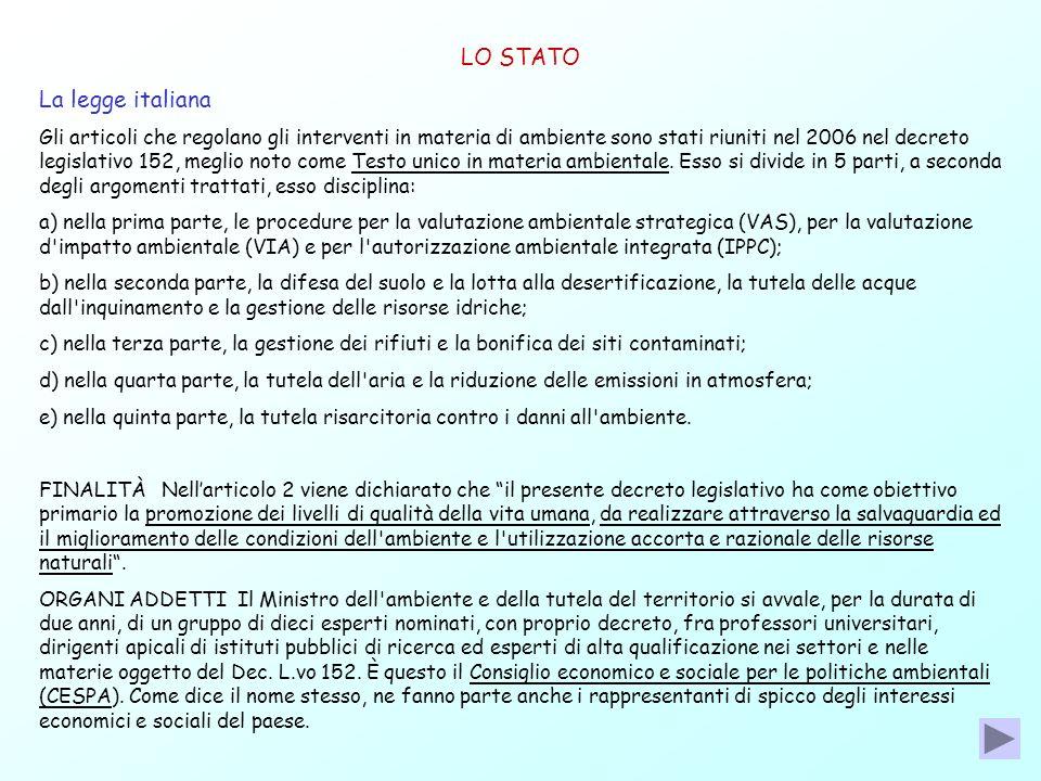 LO STATO La legge italiana Gli articoli che regolano gli interventi in materia di ambiente sono stati riuniti nel 2006 nel decreto legislativo 152, me