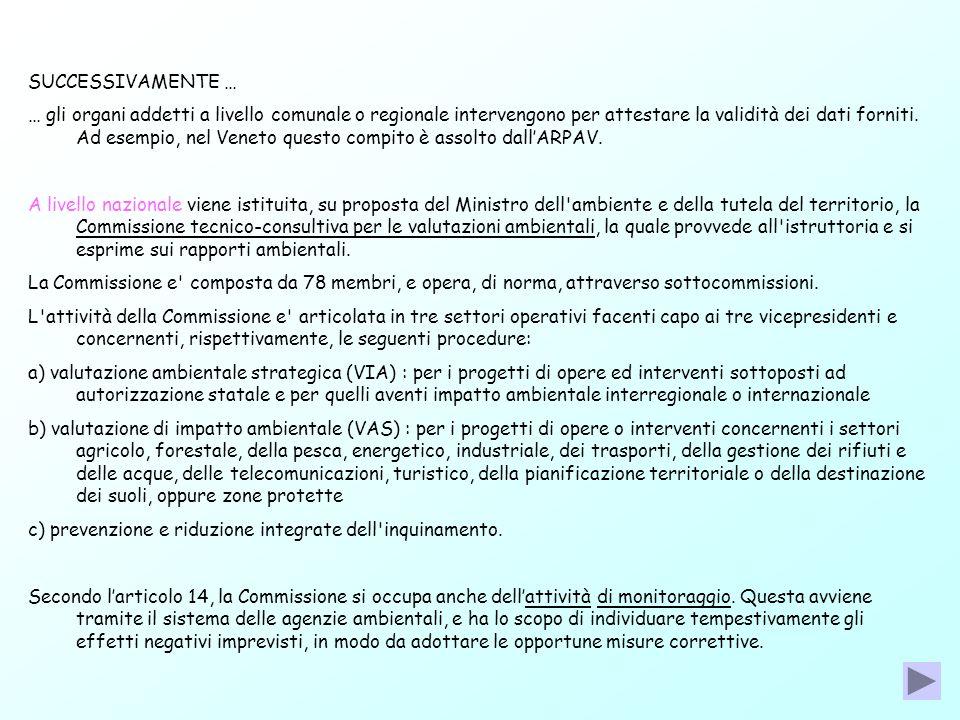 SUCCESSIVAMENTE … … gli organi addetti a livello comunale o regionale intervengono per attestare la validità dei dati forniti. Ad esempio, nel Veneto