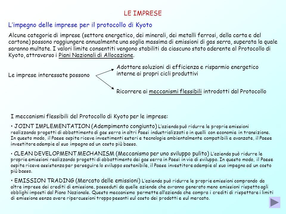 LE IMPRESE Limpegno delle imprese per il protocollo di Kyoto Alcune categorie di imprese (settore energetico, dei minerali, dei metalli ferrosi, della