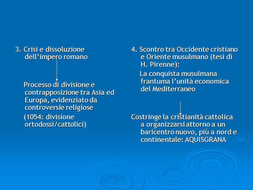 3. Crisi e dissoluzione dellimpero romano Processo di divisione e contrapposizione tra Asia ed Europa, evidenziato da controversie religiose Processo