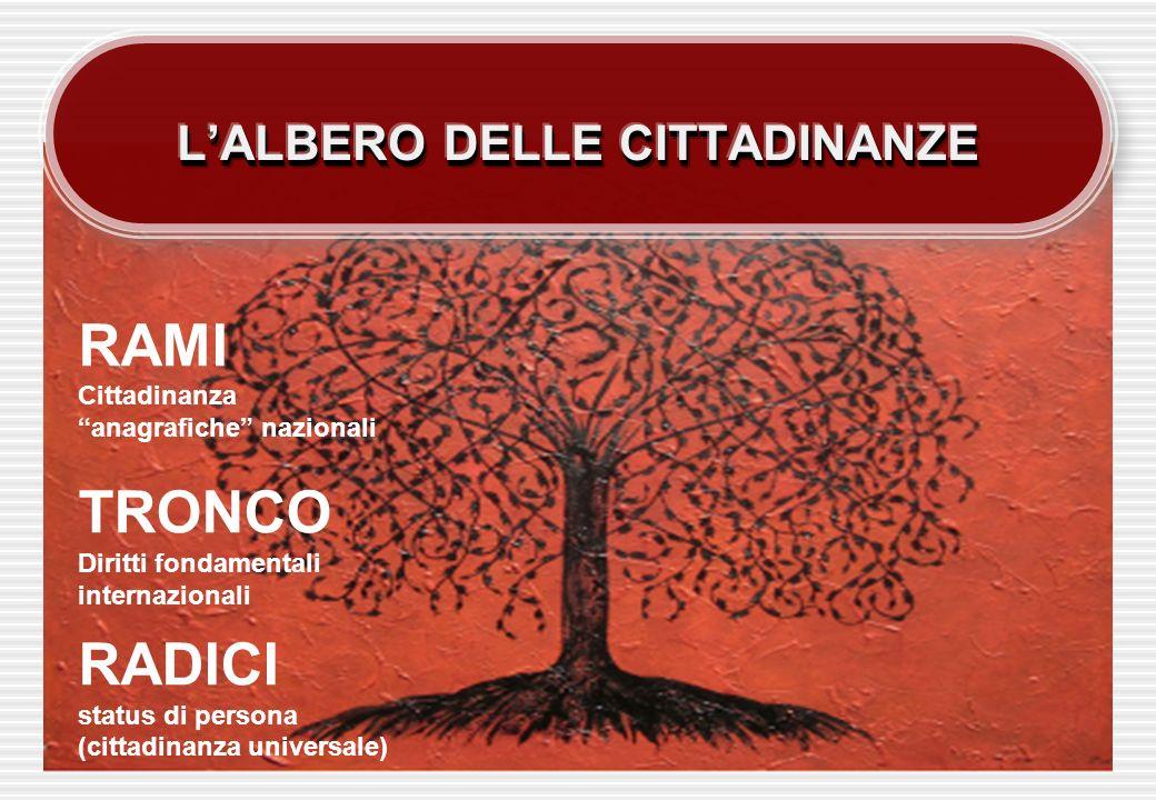 RAMI Cittadinanza anagrafiche nazionali TRONCO Diritti fondamentali internazionali RADICI status di persona (cittadinanza universale)
