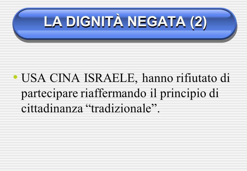LA DIGNITÀ NEGATA (2) USA CINA ISRAELE, hanno rifiutato di partecipare riaffermando il principio di cittadinanza tradizionale.