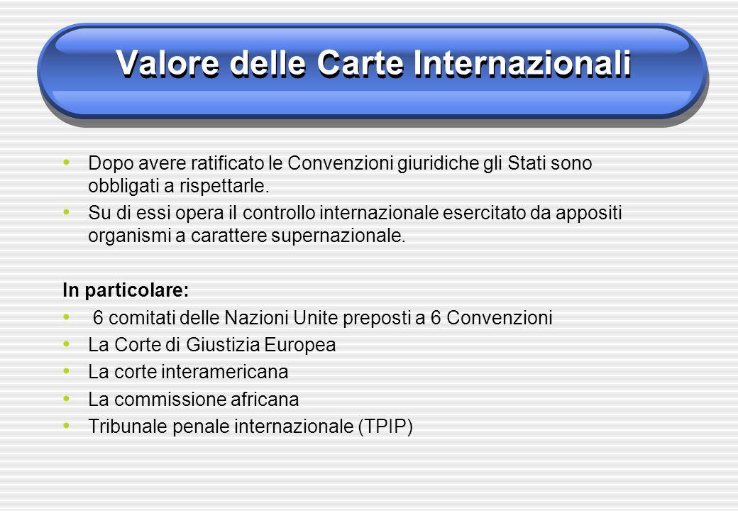 Valore delle Carte Internazionali Dopo avere ratificato le Convenzioni giuridiche gli Stati sono obbligati a rispettarle. Su di essi opera il controll