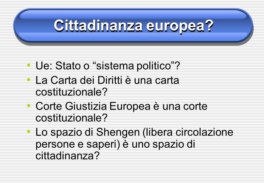 Cittadinanza europea? Ue: Stato o sistema politico? La Carta dei Diritti è una carta costituzionale? Corte Giustizia Europea è una corte costituzional