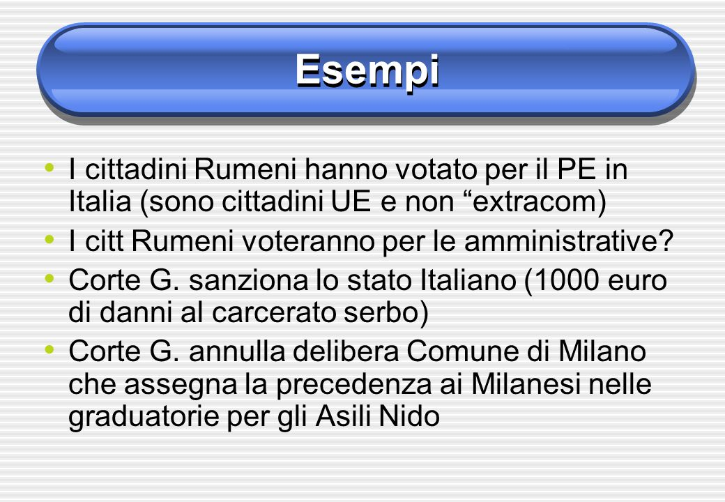 Esempi I cittadini Rumeni hanno votato per il PE in Italia (sono cittadini UE e non extracom) I citt Rumeni voteranno per le amministrative? Corte G.