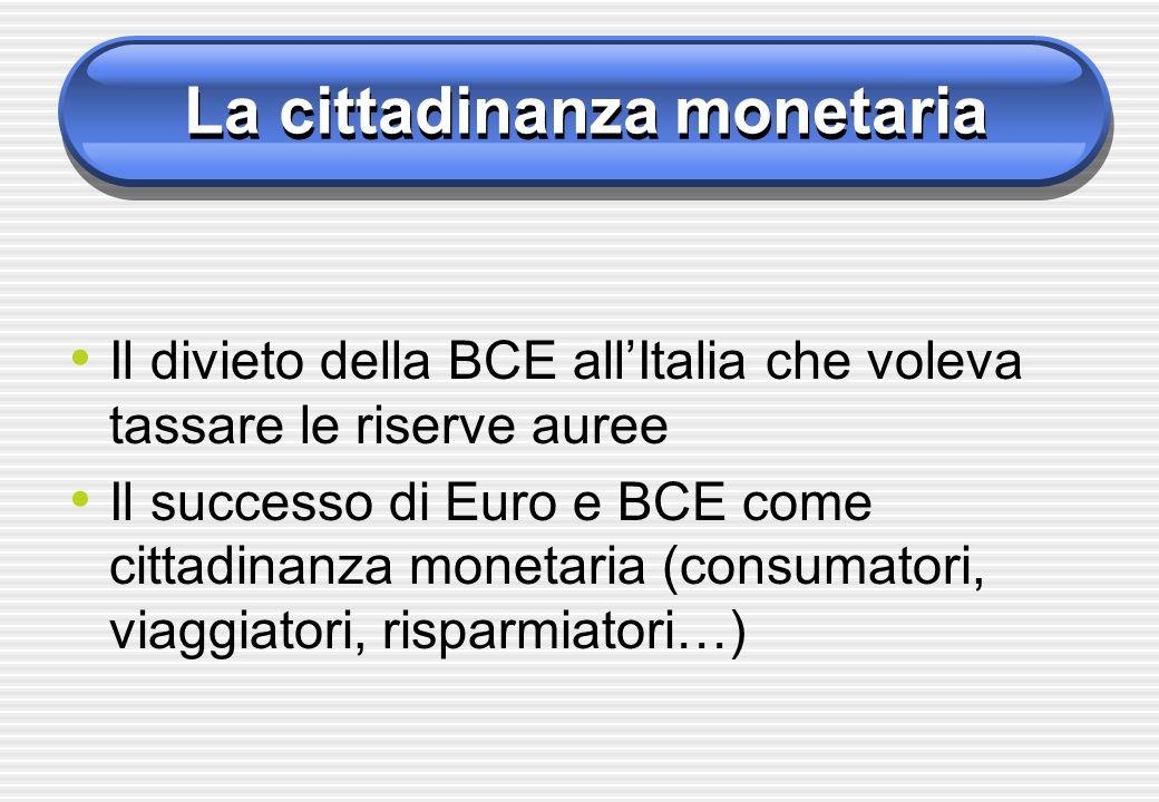 La cittadinanza monetaria Il divieto della BCE allItalia che voleva tassare le riserve auree Il successo di Euro e BCE come cittadinanza monetaria (co