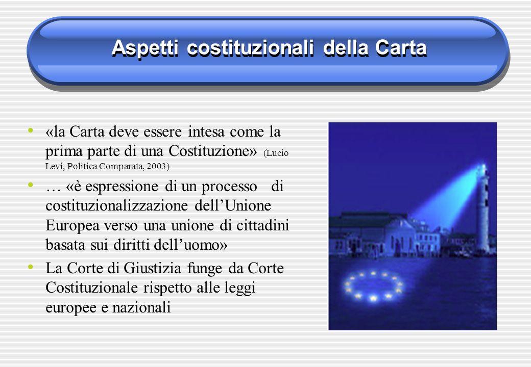 Aspetti costituzionali della Carta «la Carta deve essere intesa come la prima parte di una Costituzione» (Lucio Levi, Politica Comparata, 2003) … «è e