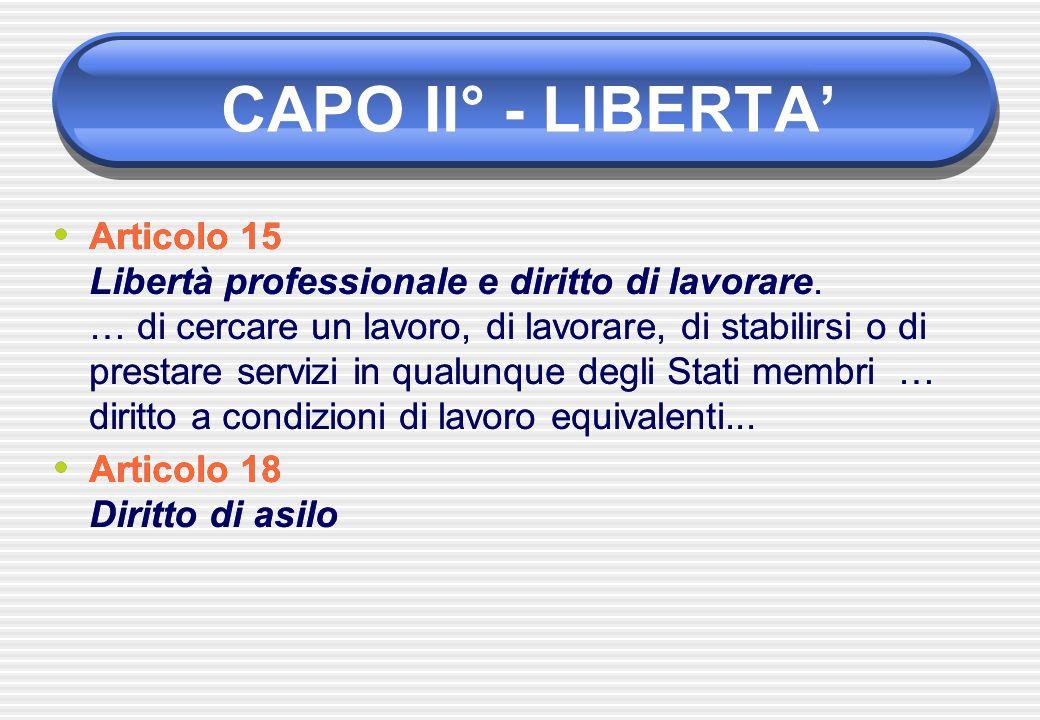 Articolo 15 Libertà professionale e diritto di lavorare. … di cercare un lavoro, di lavorare, di stabilirsi o di prestare servizi in qualunque degli S
