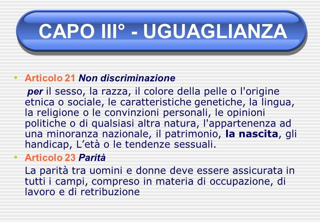 Articolo 21 Non discriminazione per il sesso, la razza, il colore della pelle o l'origine etnica o sociale, le caratteristiche genetiche, la lingua, l