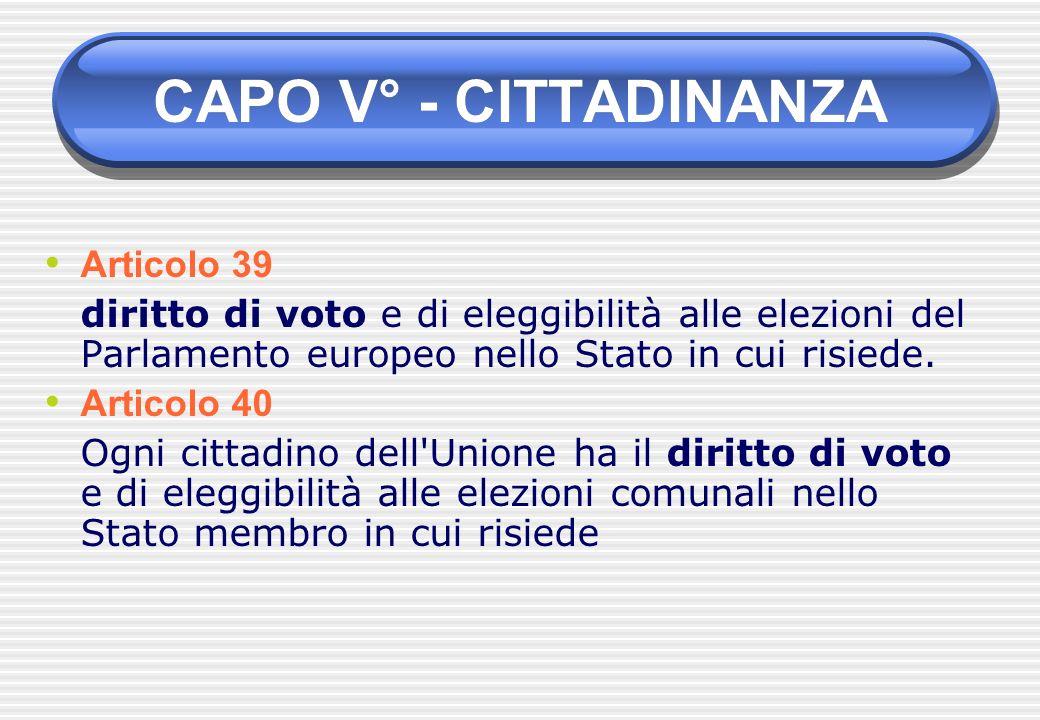 Articolo 39 diritto di voto e di eleggibilità alle elezioni del Parlamento europeo nello Stato in cui risiede. Articolo 40 Ogni cittadino dell'Unione