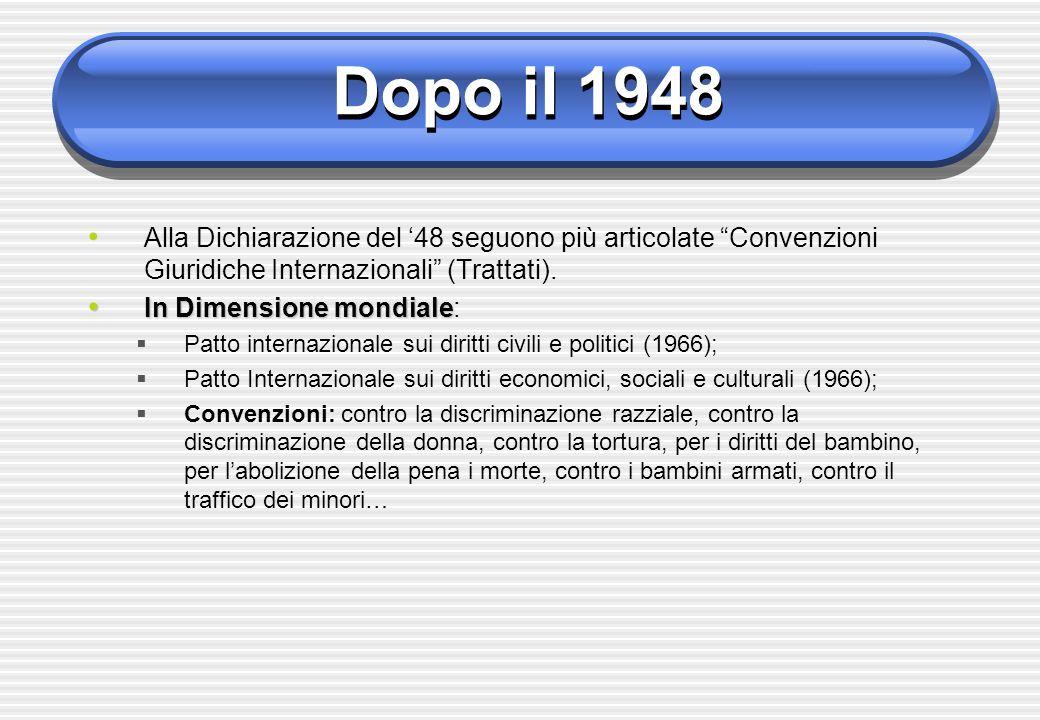 Dopo il 1948 In Dimensione continentale In Dimensione continentale: 1)Convenzione europea perla salvaguardia dei diritti umani e delle libertà fondamentali (1950) 2)Carta sociale europea (1961) 3)Convenzione interamericana sui diritti umani (1969) 4)Carta Africana dei diritti delluomo e dei popoli (1981) 5)Carta dei Diritti dellUnione Europea (2000)