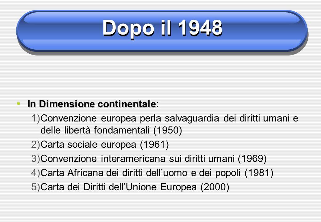 Dopo il 1948 In Dimensione continentale In Dimensione continentale: 1)Convenzione europea perla salvaguardia dei diritti umani e delle libertà fondame