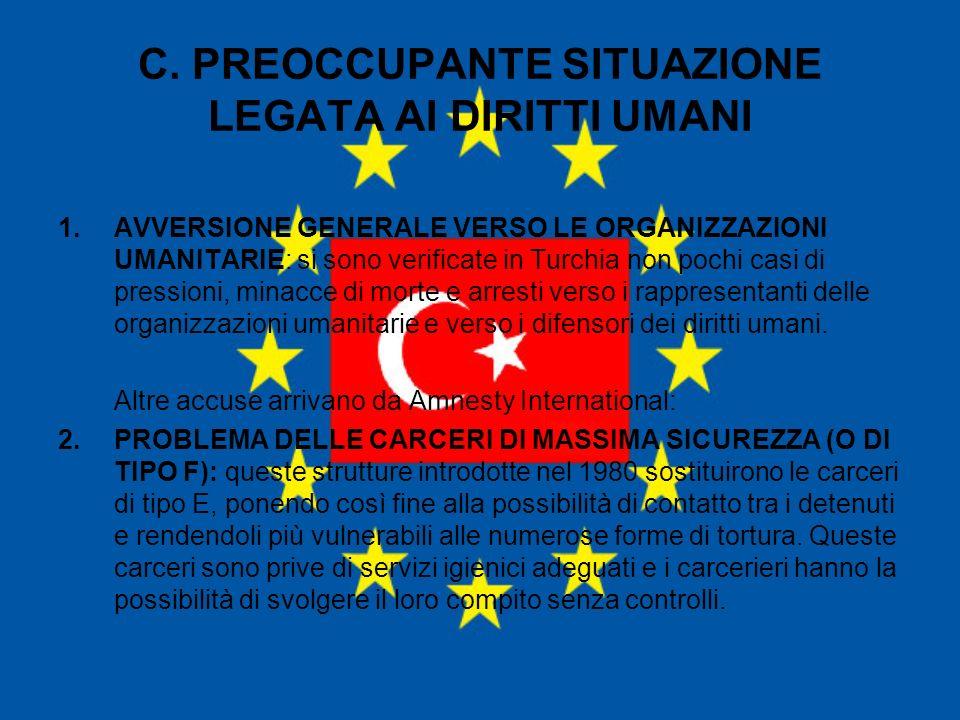 C. PREOCCUPANTE SITUAZIONE LEGATA AI DIRITTI UMANI 1.AVVERSIONE GENERALE VERSO LE ORGANIZZAZIONI UMANITARIE: si sono verificate in Turchia non pochi c