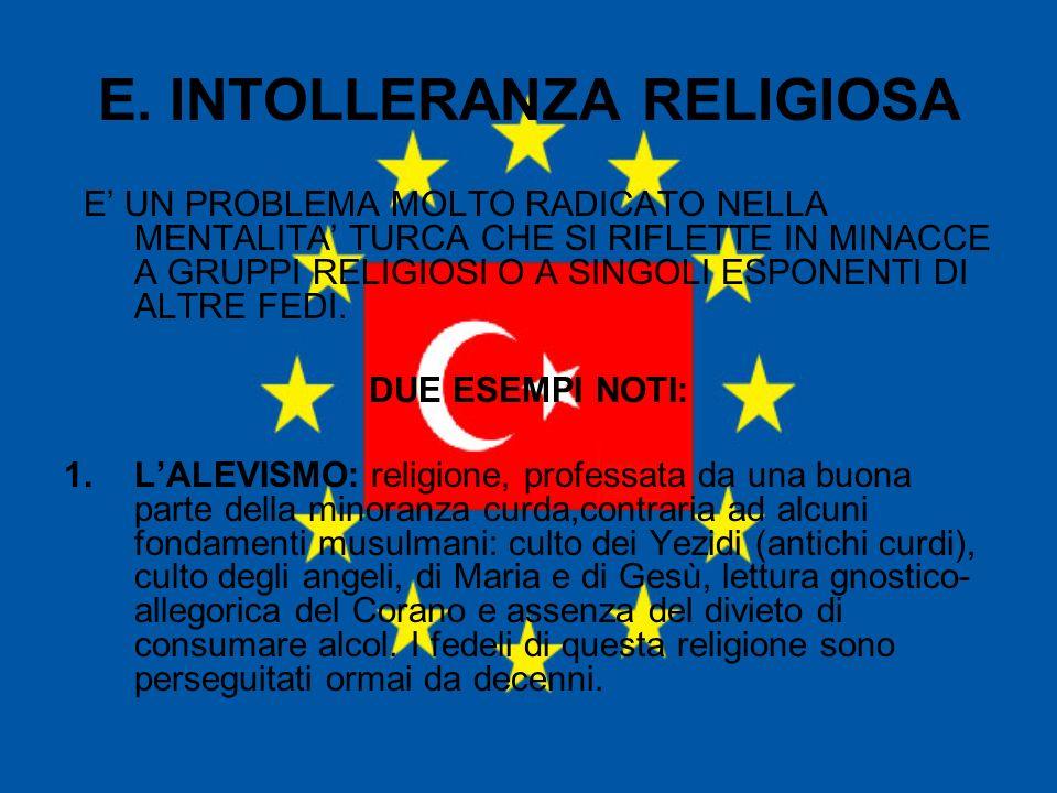 E. INTOLLERANZA RELIGIOSA E UN PROBLEMA MOLTO RADICATO NELLA MENTALITA TURCA CHE SI RIFLETTE IN MINACCE A GRUPPI RELIGIOSI O A SINGOLI ESPONENTI DI AL