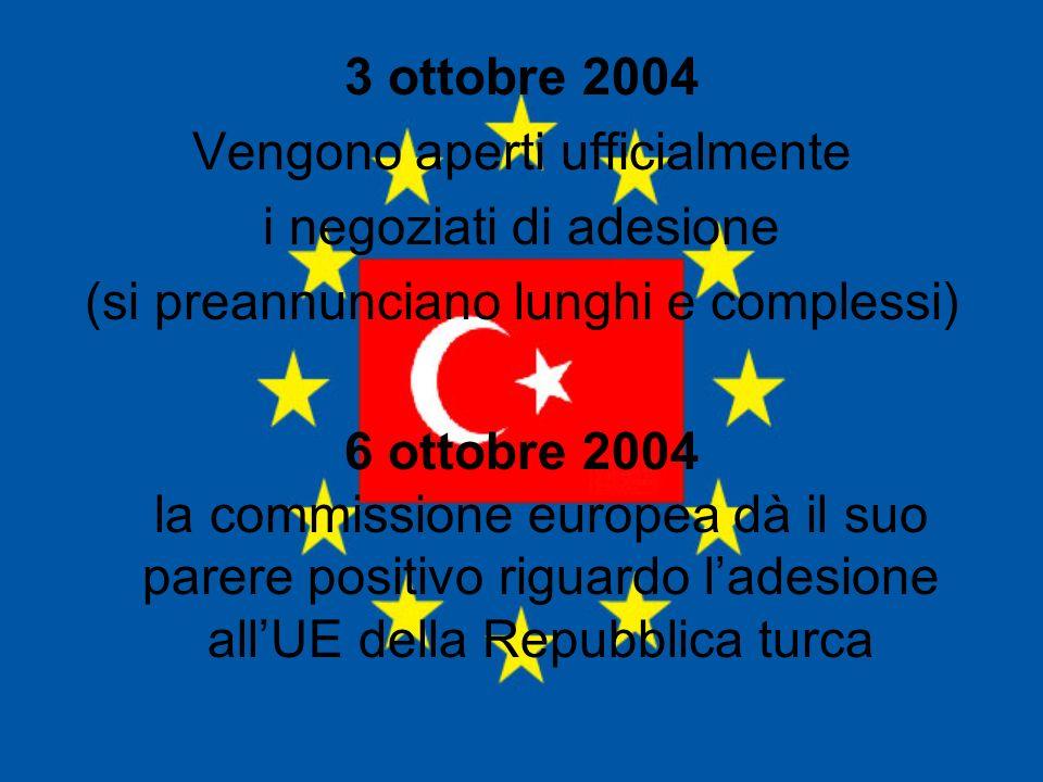 3 ottobre 2004 Vengono aperti ufficialmente i negoziati di adesione (si preannunciano lunghi e complessi) 6 ottobre 2004 la commissione europea dà il