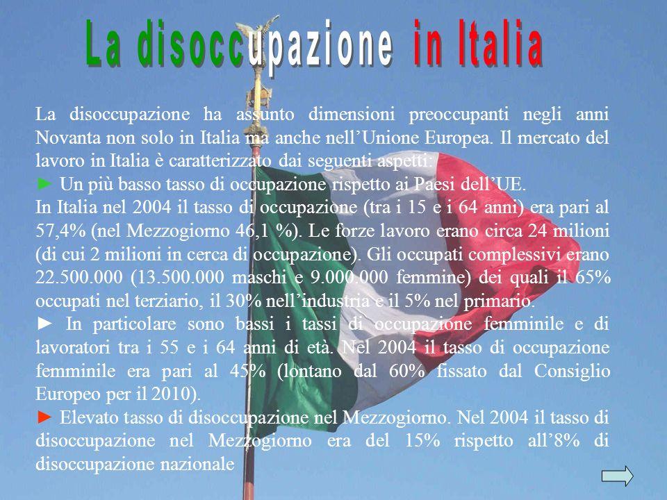 La disoccupazione ha assunto dimensioni preoccupanti negli anni Novanta non solo in Italia ma anche nellUnione Europea. Il mercato del lavoro in Itali