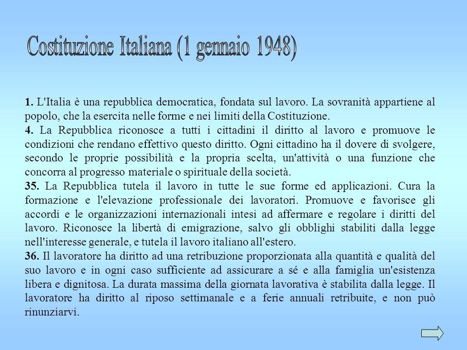 1. L'Italia è una repubblica democratica, fondata sul lavoro. La sovranità appartiene al popolo, che la esercita nelle forme e nei limiti della Costit