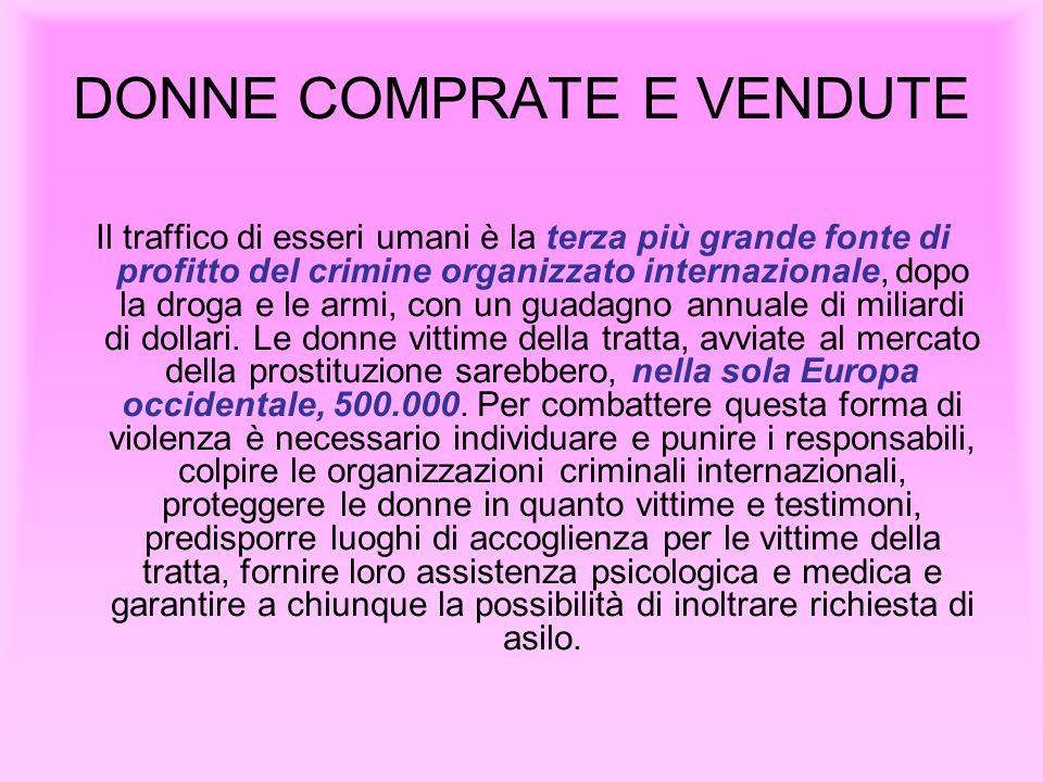 DONNE COMPRATE E VENDUTE Il traffico di esseri umani è la terza più grande fonte di profitto del crimine organizzato internazionale, dopo la droga e l