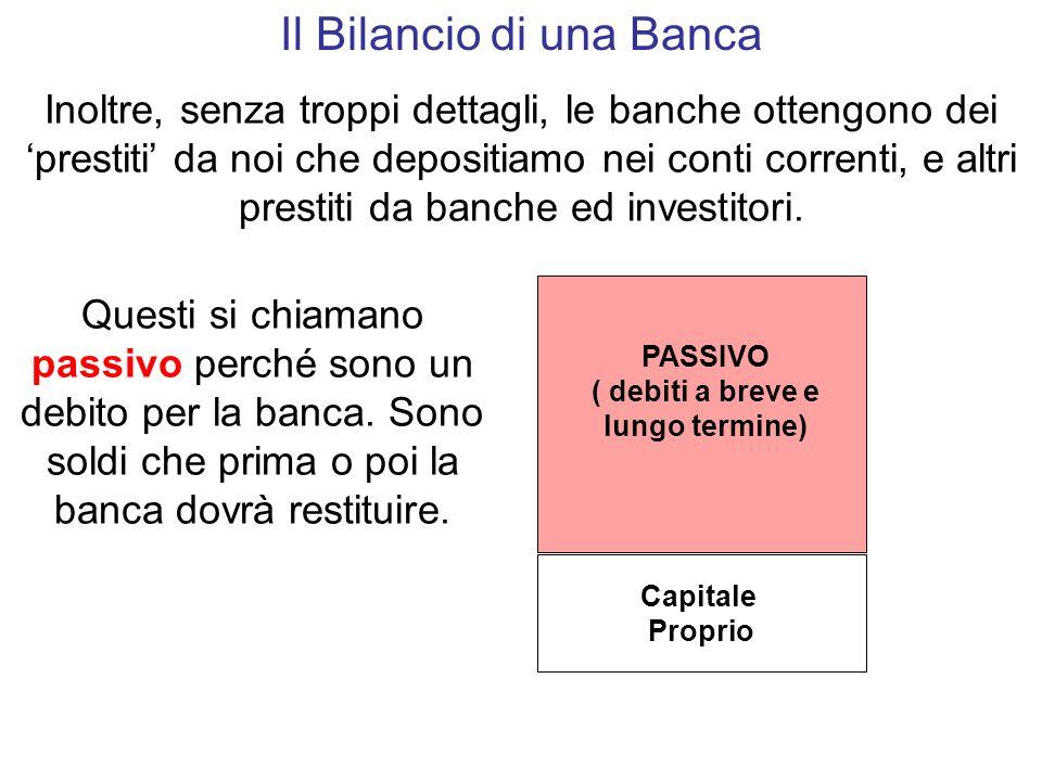 Capitale Proprio PASSIVO ( debiti a breve e lungo termine) Il Bilancio di una Banca Inoltre, senza troppi dettagli, le banche ottengono dei prestiti da noi che depositiamo nei conti correnti, e altri prestiti da banche ed investitori.