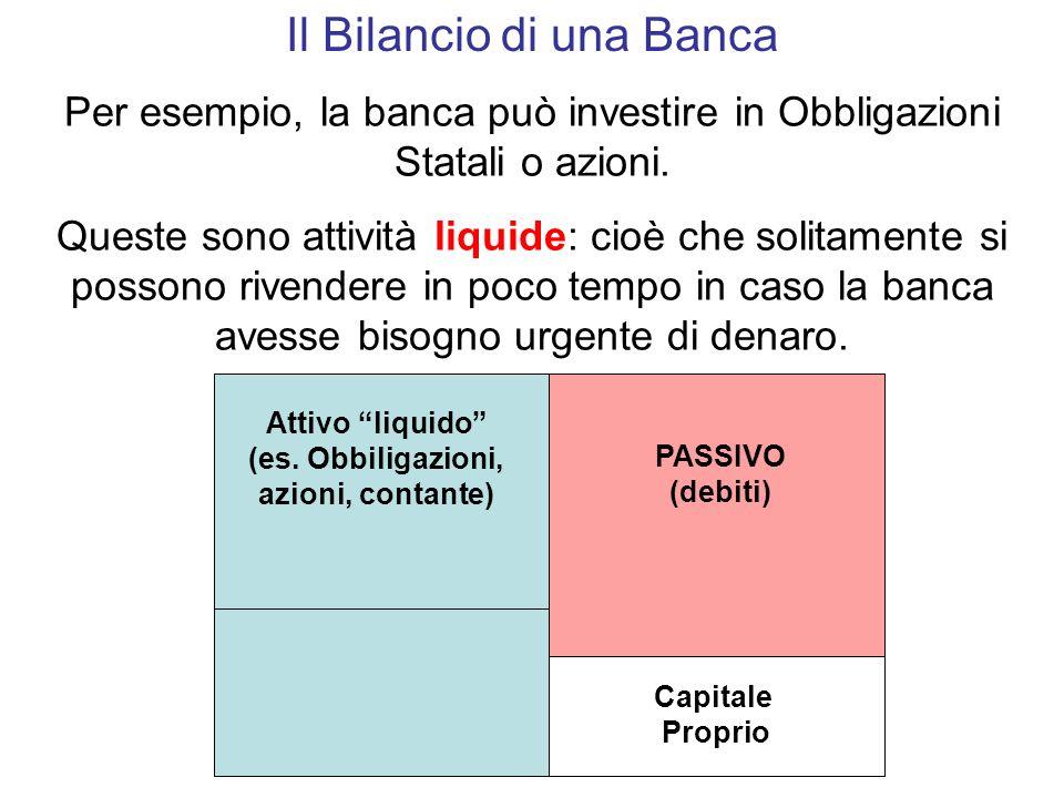 Il Bilancio di una Banca Per esempio, la banca può investire in Obbligazioni Statali o azioni.