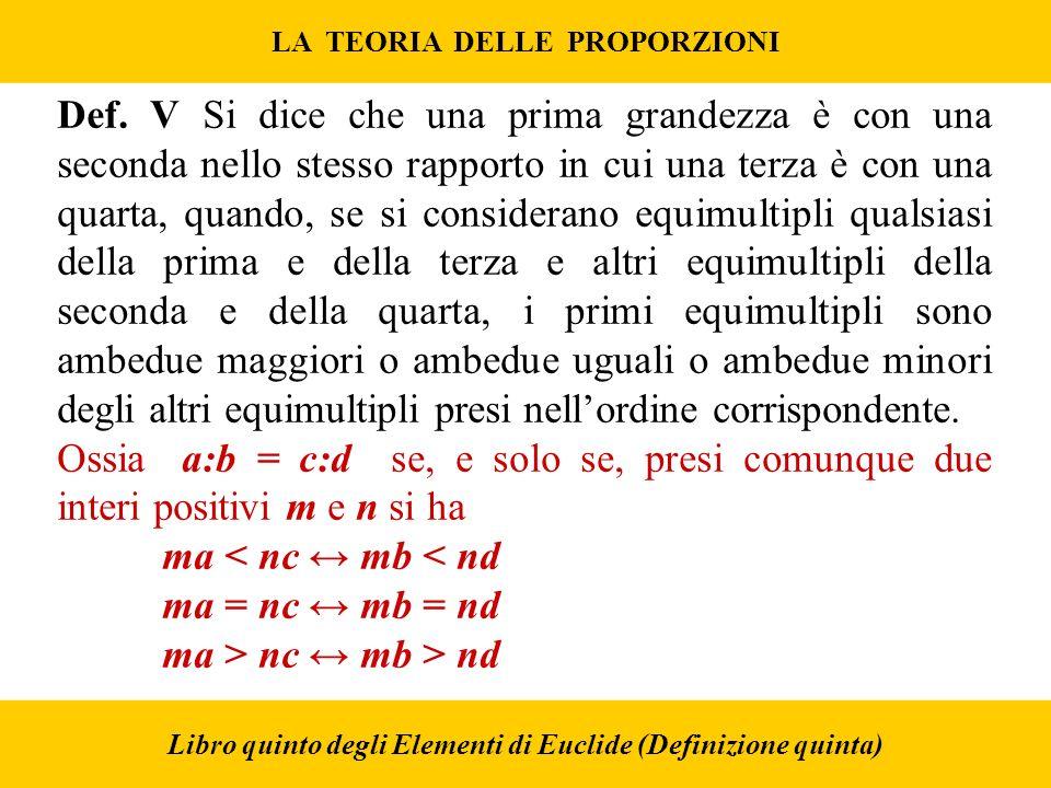 LA TEORIA DELLE PROPORZIONI Libro quinto degli Elementi di Euclide (Definizione quinta) Def.