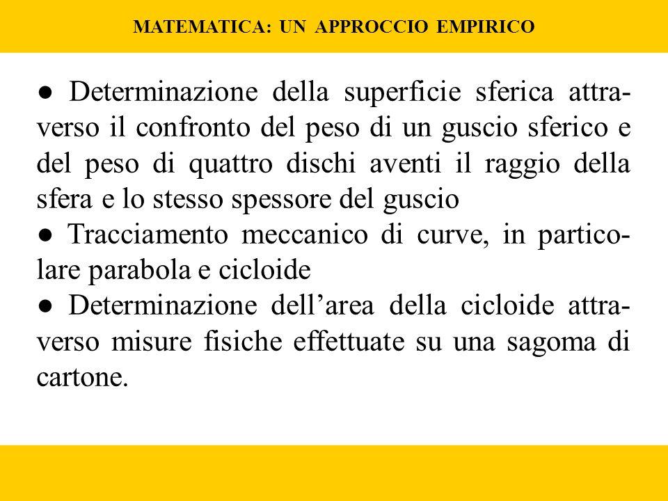 MATEMATICA: UN APPROCCIO EMPIRICO Determinazione della superficie sferica attra- verso il confronto del peso di un guscio sferico e del peso di quattro dischi aventi il raggio della sfera e lo stesso spessore del guscio Tracciamento meccanico di curve, in partico- lare parabola e cicloide Determinazione dellarea della cicloide attra- verso misure fisiche effettuate su una sagoma di cartone.