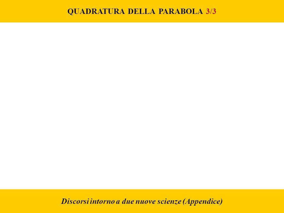 QUADRATURA DELLA PARABOLA 3/3 Discorsi intorno a due nuove scienze (Appendice)