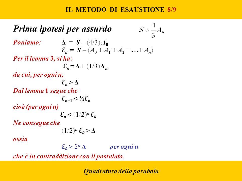 IL METODO DI ESAUSTIONE 8/9 Quadratura della parabola Prima ipotesi per assurdo Poniamo: Δ = S (4/3) A 0 E n = S (A 0 + A 1 + A 2 + …+ A n ) Per il lemma 3, si ha: E n = Δ + (1/3)A n da cui, per ogni n, E n > Δ Dal lemma 1 segue che E n+1 < ½ E n cioè (per ogni n) E n < (1/2) n E 0 Ne consegue che (1/2) n E 0 > Δ ossia E 0 > 2 n Δper ogni n che è in contraddizione con il postulato.